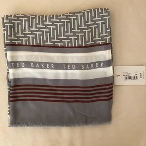 TED BAKER Wide T Logo Scarf, Gray